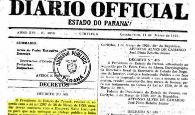 Primeira página do Diário Oficial do Estado do Paraná que publicou o Decreto 365/29, que abriu a linha férrea Guaíra - P. Mendes ao tráfego público.  Imagem: Arquivo Público do Paraná - IMAGEM 2 -