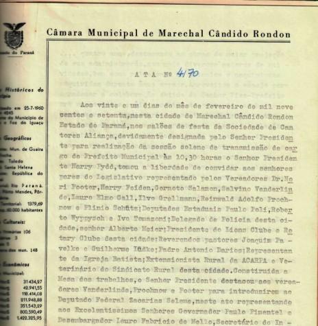 Primeira folha da ata que deu posse a Dealmo Selmiro Poersch .  Imagem: Acerco Câmara Municipal de Marechal Cândido Rondon - FOTO 2 -