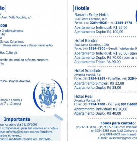 Página interna do folder-convite com detalhes da programação e do cardápio ref. ao VII Encontro das Famílias Kaiser, ... Imagem: Acervo Memória Rondonense - FOTO 6 -