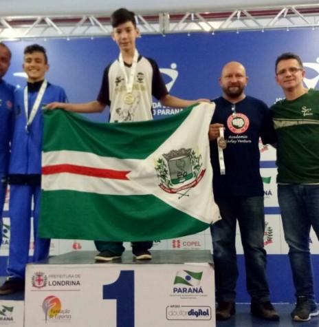Atletas Nicolás Camargo campeão do taekwondo na categoria A (até 45 quilos).  Imagem: Acervo Imprensa PM - MCR -  FOTO 11 -