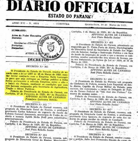 Primeira página do Diário Oficial do Estado do Paraná que publicou o Decreto 365/29, que abriu a linha férrea Guaíra - P. Mendes ao tráfego público.  Imagem: Arquivo Público do Paraná - FOTO 2 -