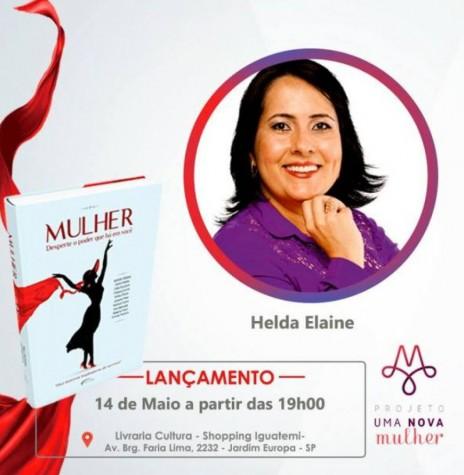 Cartaz de lançamento do livro da palestrante  Helda Elaine Völz Bier, na cidade de São Paulo.  Imagem: Acervo O Presente -- FOTO 12 -