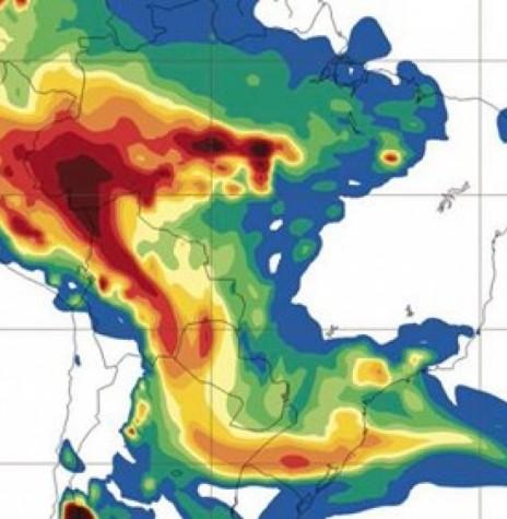 Amostragem de satélite elaborada pela Metsul Meteorologia apontado o corredor de fumaça procedente da Amazônia. Imagem: Acervo Metsul - FOTO 8 --