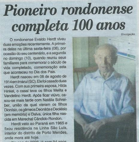 Nota do jornal O Presente com referência ao centenário do pioneiro rondonense Evaldo Herdt. Imagem: Acervo Evair Heerdt Michels - FOTO 10 -