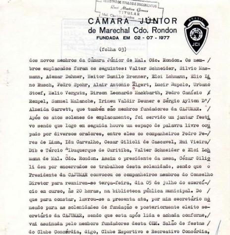Página final da ata de fundação da JCI - Marechal Cândido Rondon.  Imagem: Acervo JCI - FOTO 12 -