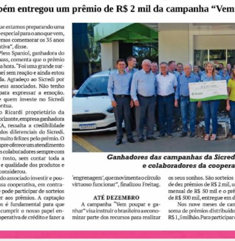 Recorte do jornal O Presente com destaque para a entrega de prêmios da Sicredi Aliança PR/SP, em outubro de 2019. Imagem: Acervo O Presente - FOTO 15 -