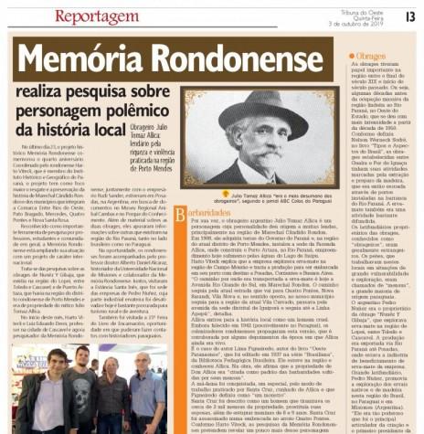 Destaque do jornal rondonense Tribuna do Oeste sobre o 4º aniversário do Projeto Memória Rondonense e a viagem de pesquisadores à Posadas, Argentina. Imagem: Acervo Projeto Memória Rondonense - FOTO 14 -