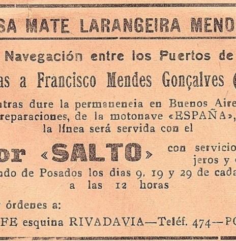 Comunicado pela Empresa Mate Larangeira Mendes S.A., no jornal posadenho La Tarde, setembro de 1940. Imagem: Acervo Ada Bousett - Posadas del Ayer (Posadas). - FOTO 2 -