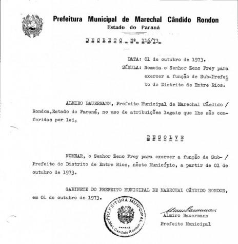 Decreto de nomeação de Zeno Frey para as funções de subprefeito de Entre Rios. Imagem: Acervo Prefeitura Municipal de Marechal Cândido Rondon - FOTO 5 -