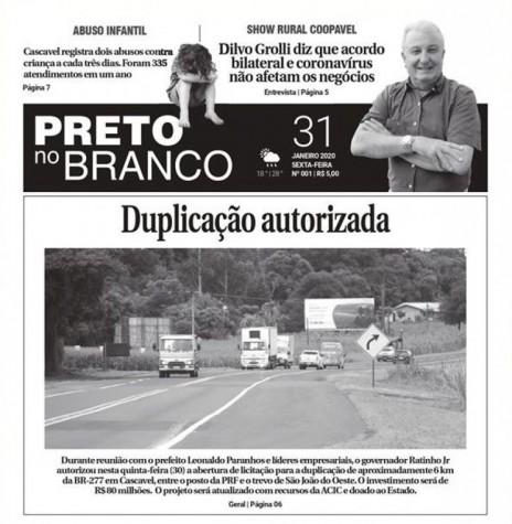 Capa da 1ª edição do jornal