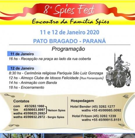 Cartaz do 8º Encontro da Família Spies. Imagem: Acervo Projeto Memória Rondonense - FOTO 8 -