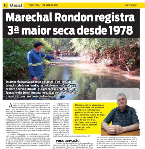 Destaque (1ª parte) do jornal O Presente sobre a estiagem que atinge a região.  Imagem: Acervo O Presente - FOTO 7 _