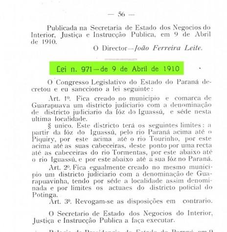 Cópia da Lei nº 971/1910 que criou o distrito de Fóz do Iguassu. Imagem: Acervo Arquivo Público do Paraná - FOTO 2 -