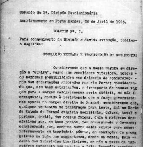 Cópia do Boletim nº 7 (página inicial) com o comunicado da entrada do grupo revolucionário em território paraguaio.  Imagem: Acervo Projeto Memória Rondonense - FOTO 5 -