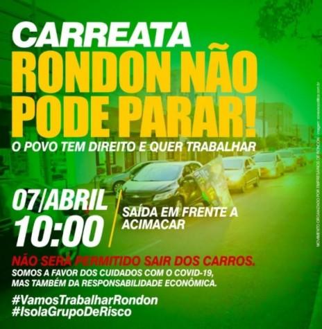 Banner-convite para a carreata pró-reabertura do comércio de Marechal Cândido Rondon.  Imagem: Acervo Projeto Memória Rondon - FOTO 19 -