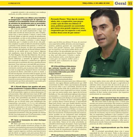 Página final da entrevista com o diretor-executivo da Sicredi Aliança PR/SP, Fernando Fenner. Imagem: Acervo O Presente - FOTO 10 -