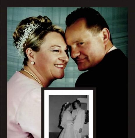 Casal  Leonir Verônica Layter e Oldemar Rohloff na comemoração das Bodas de Prata, com sobreposição da foto do casamento. Imagem: Acervo do casal - FOTO 5 -