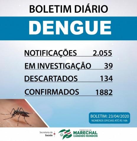 Boletim da Secretaria de Saúde de Marechal Cândido Rondon sobre a epidemia de dengue no município. Imagem: Acervo Imprensa PM-MCR - 6 --