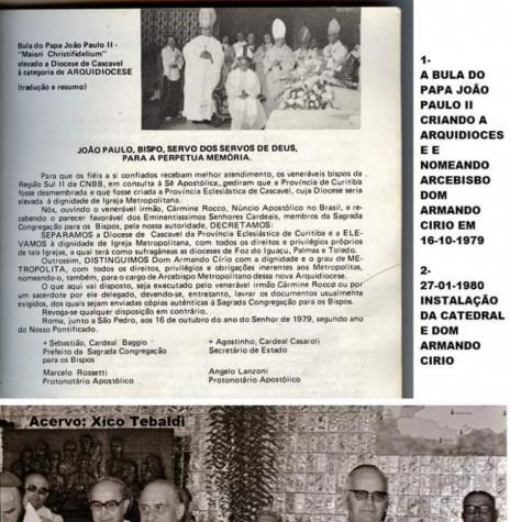 Detalhes da nomeação e posse de D. Armando Cirio como 1º arcebispo metropolitano de Cascavel.  Imagem: Acervo Xivo Tebaldi - FOTO 4 -