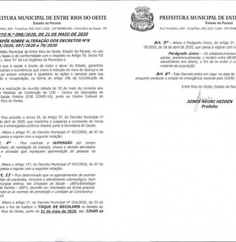 Decreto da Prefeitura Municipal de Entre Rios do Oeste que alterou o horário do toque de recolher em função da pandemia do novo coronavírus. Imagem: Acervo Imprensa PM-ERO - FOTO 10 -