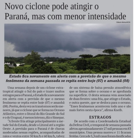 Recorte do jornal O Presente se reportando quanto a formação de um ciclone extratropical no Cone Sul americano. Imagem: Acervo O Presente - FOTO 18 -