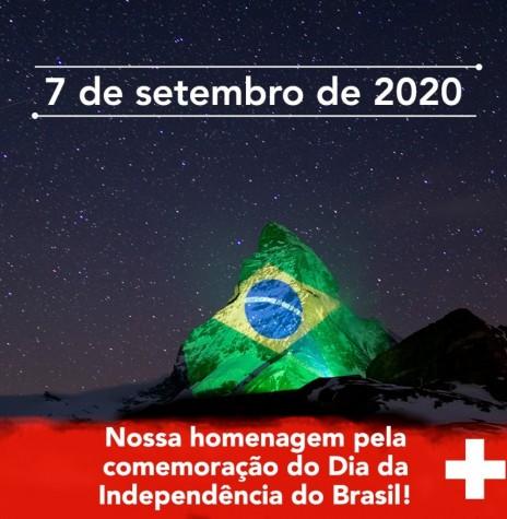 Homenagem do governo suiço ao Brasil por sua data de Independência, através de sua representação diplomática no Brasil, em sua página no Facebook.  A bandeira brasileira foi refletida, por sinal luminoso, contra a montanha Matterhorn, uma das maiores atrações turísticas do país europeu. Imagem: Acervo Suiça no Brasil - FOTO 10 -