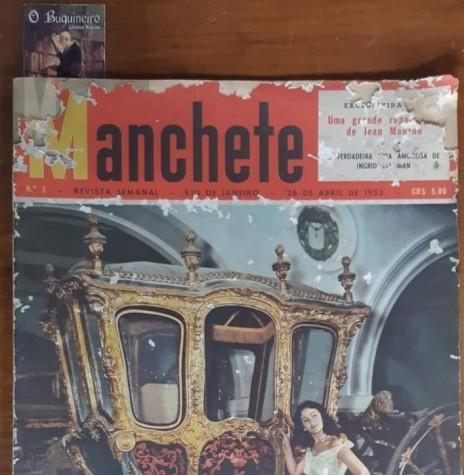 Capa da 1ª revista Manchete, lançada em abril de 1952, destacando a bailarina Inês Litkowski do Teatro Municipal de Rio de Janeiro junto de uma carrugaem imperial.  Imagem: Acervo Biblioteca Nacional  - FOTO  7 -