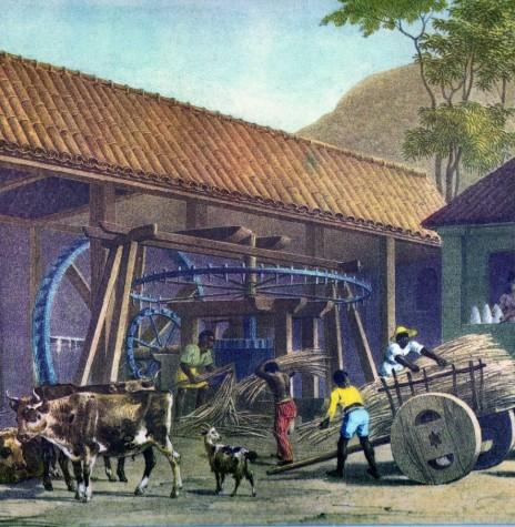 Moenda de cana no Brasil Colonial para produção de açúcar e aguardente. Imagem: Acervo Domínio Público - Pintura de Johannes Rugendas (com redifinição) - FOTO 3 -