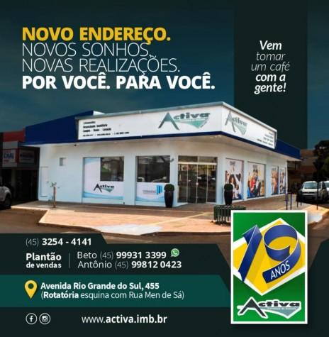 Banner da Activa Corretora de Imóveis com anúncio do novo endereço. Imagem: Acervo da empresa/Facebook - FOTO 16 -