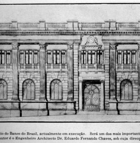 Perspectiva da primeira agência do Banco do Brasil, na cidade de Curitiba.  Décadas o prédio foi demolido. Imagem: Acervo Memória Urbana - FOTO 3 -