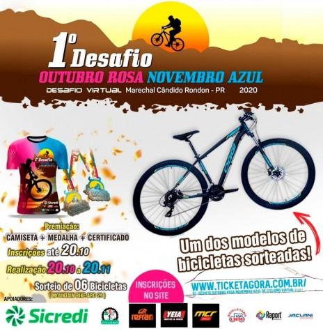 Cartaz alusivo ao 1º Desafio Virtual Outubro Rosa Novembro Azul 2020, de Marechal Cândido Rondon. Imagem: Acervo Projeto Memória Rondonense - FOTO 26 -