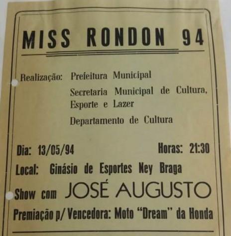 Capa do álbum do Miss Marechal Cândido Rondon 1994. Imagem: Acervo Secretaria Municipal de Cultura - FOTO 14 -