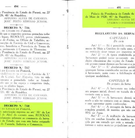 Página 1 do Decreto nº 718, de 27 de maio de 1928.  Imagem: Acervo Arquivo Público do Paraná - FOTO 2 -
