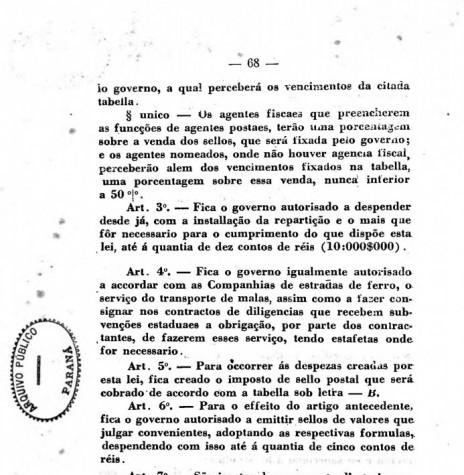 Segunda página da publicação da Lei nº 276/1898. Imagem: Acervo Arquivo Público do Paraná - FOTO 3 -