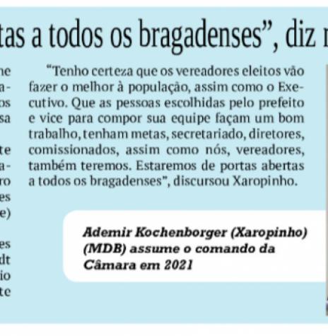 Destaque do jornal rondonense O Presente sobre a nova composição e Mesa Diretiva da Câmara Municipal de Pato Bragado. Imagem Acervo O Presente - FOTO 51 -