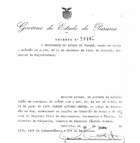 Cópia do Decreto Estadual nº 20.405 que nomeou Olmiro Wenzel para as funções de cartorário no distrito rondonense de Margarida. Imagem: Acervo Arquivo Público do Paraná - FOTO 3 -