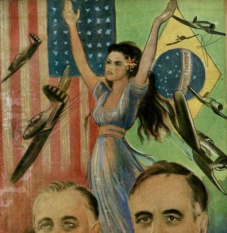 Alegoria celebrando a Aliança entre os Estados Unidos de Franklin D. Roosevelt e o Brasil de Getúlio Vargas durante a Segunda Guerra Mundial, em 1942. Pintura de Calmon Barreto. Imagem: Acervo O Passado do Brasil/Facebbok - FOTO 6 -