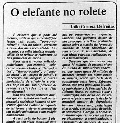 Artigo do professor João Correia Defreitas publicado na 6ª página, da edição de 1º de julho de 1991, do jornal Gazeta do Povo, de Curitiba -  Imagem: Acervo Biblioteca Pública do Paraná - FOTO 7 -
