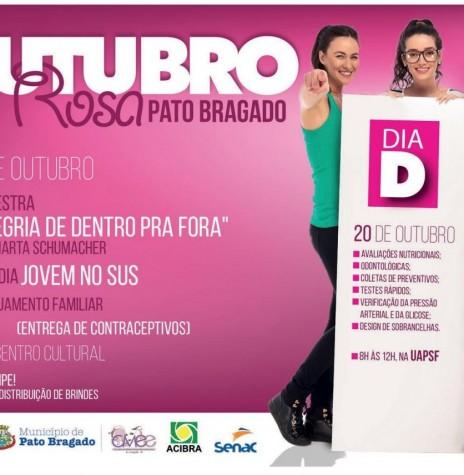 Banner  institucional da Prefeitura Municipal de Pato Bragado ref. a campanha Outubro Rosa 2018.  Imagem: Acervo O Presente - FOTO 19 -