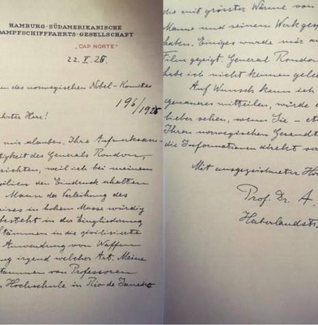 Carta de Einstein para o comitê do Nobel indicando o General Rondon para a Prêmio Nobel da Paz.  Imagem: Acervo Porto Rondoniense - FOTO 5 -