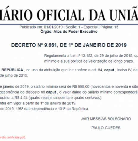 Publicação do decreto nº 9.661, ref. a fixação do salário minimo para 2019.  - FOTO 47 -