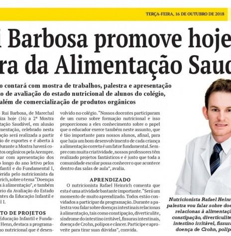 Matéria do jornal O Presente sobre a 2ª Mostra da Alimentação Saudável do Colégio Luterano Rui Barbosa.  Imagem: Acervo do jornal - FOTO 18 --