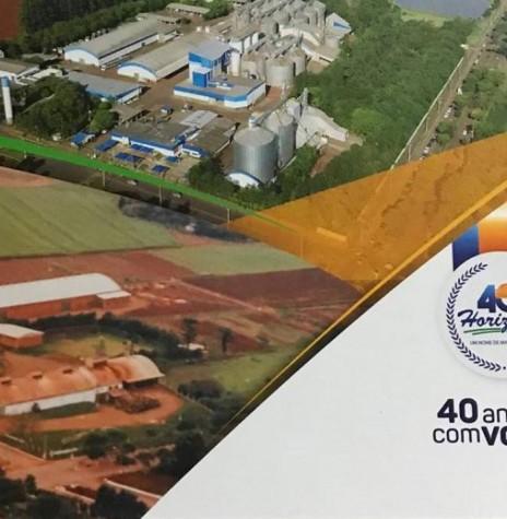 Banner comemorativo da Agrícola Horizonte contrastando em imagens o começo da matriz e o atual complexo-sede da empresa, com as suas unidades de armazenamento e instalações industriais na cidade de Marechal Cândido Rondon. Imagem: Acervo da empresa - FOTO 6 -