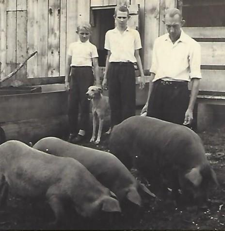Otto Kaiser com os filhos Waldemar e Elemar, da esquerda à direita.  Imagem: Acervo Waldemar Kaiser - FOTO 7 –