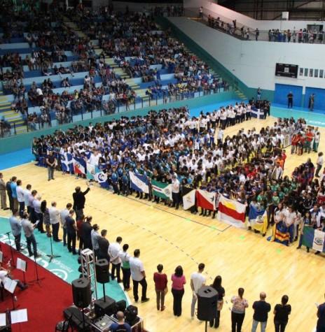 Solenidade abertura da fase regional dos Jogos Escolares do Paraná 2018, no Ginásio de Esportes Ney Braga, em Marechal Cândido Rondon.  Imagem: Acervo Imprensa PM-MCR - FOT0 6 -