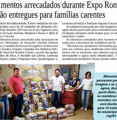 Recorte noticioso do jornal O Presente sobre a distribuição dos alimentos arrecadados no ExpoRondon 2019.  Imagem: Acervo do Informativo - FOTO 7 -
