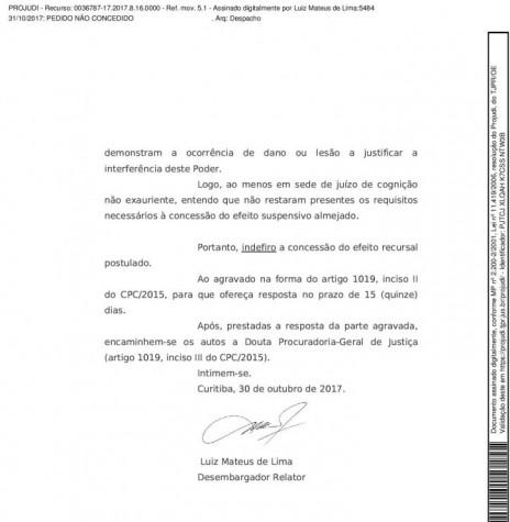 Página final da decisão do Tribunal de Justiça do Paraná no pedido de recurso contra a decisão do juízo da Vara da Fazenda Pública da Comarca de Marechal Cândido Rondon.  Imagem: Acervo Memória Rondonense - FOTO 9 -