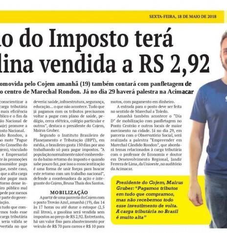 Publicação do jornal O Presente referente a campanha da Feirão do Imposto, movimentado pelo Cojem de Marechal Cândido Rondon - FOTO 6 -