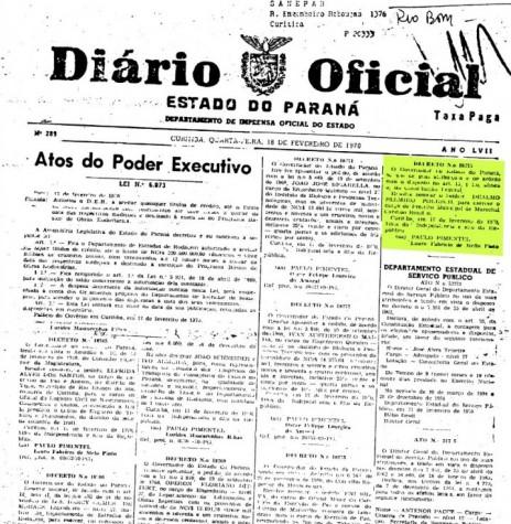 Cópia da página inicial do Diário Oficial nº 289, de 18.02.1970, que nomeou Dealmo Selmiro Poersch como prefeito municipal de Marechal Cândido Rondon.  Imagem: Acervo Arquivo Público do Paraná - FOTO 1 -