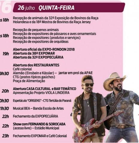 Agenda de eventos do primeiro dia da Expo-Rondon 2018.  Imagem: Acervo Proem - PM-MCR - FOTO 12 -
